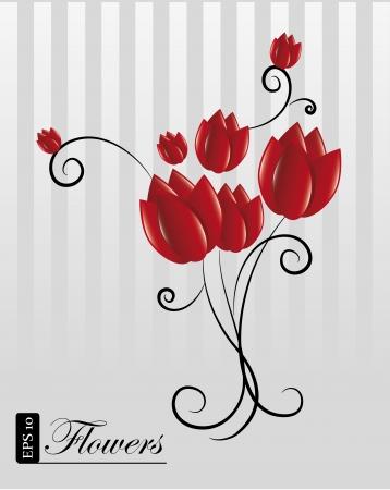 flowers design over gray background illustration  Vector