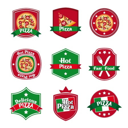 fast foods: pizza label over white background  Illustration