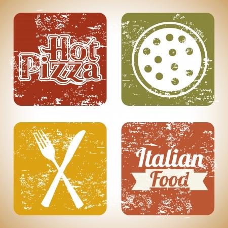 pizza prints over vintage background