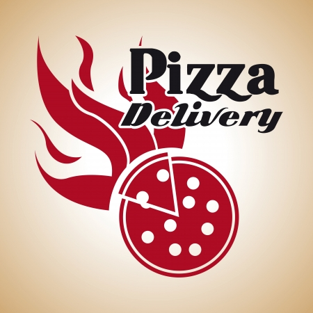 pizza delivery over vintage background  Vector