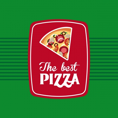 savoury: the best pizza over green background  Illustration