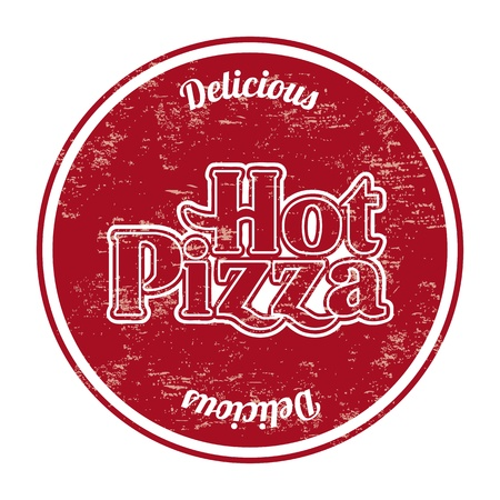 hot pizza seal over white background Vector