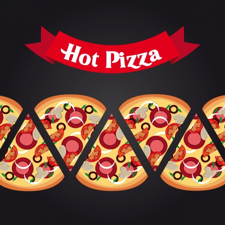 hot pizza design over black background  Vector