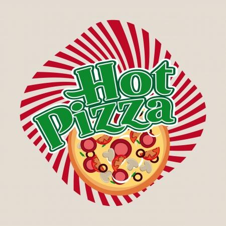 hot pizza over beige background  Vector