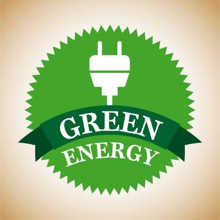conection: etiqueta de la energ�a verde sobre fondo vintage Vectores