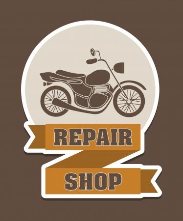 repair shop: taller de reparaci�n sobre fondo marr�n