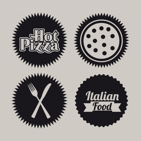 pizza seals over gray background  Vector
