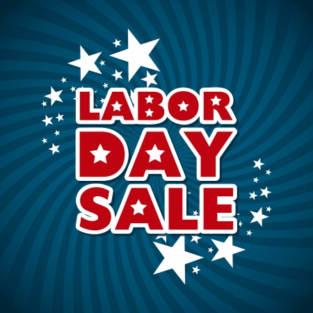 sale icon: labor day sale over blue background  Illustration