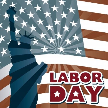 new day: giorno di lavoro sopra la bandiera americana sfondo Vettoriali