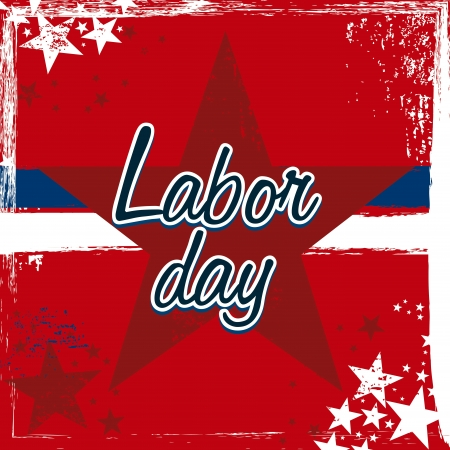 labor day over red background  Illustration