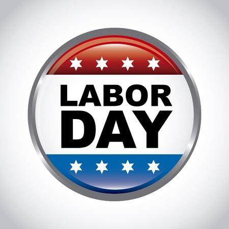 feriado: Botón del día del trabajo sobre fondo gris Vectores