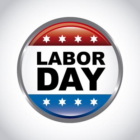 Holiday Decorations: labor day button over gray background