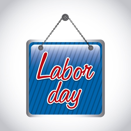 labor day label over gray background