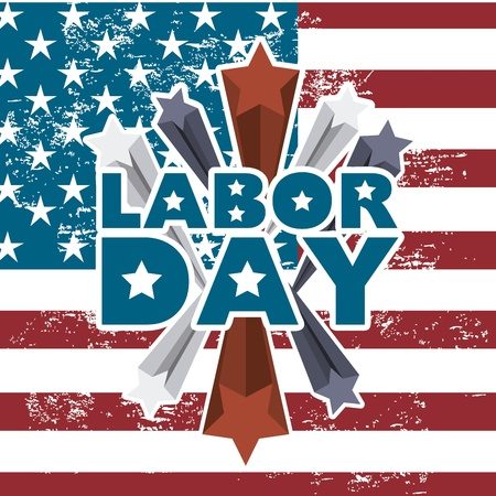 labor day: labor day  over american flag background