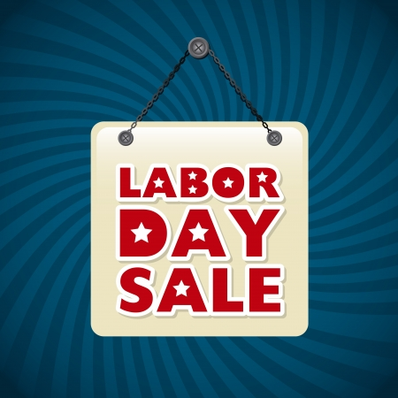 labor market: labor day label over blue background  Illustration