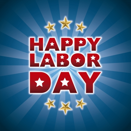 labor day: happy labor day over blue background