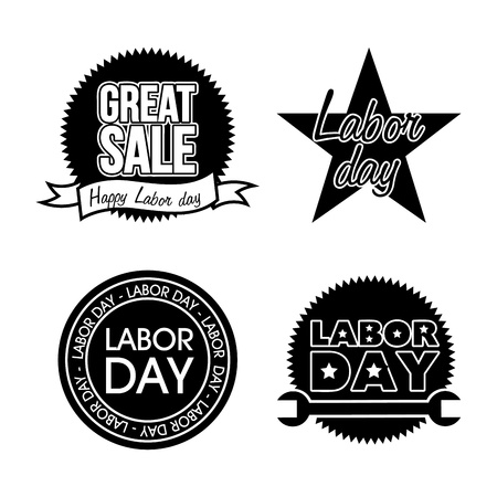 labor market: labor day icons over white background