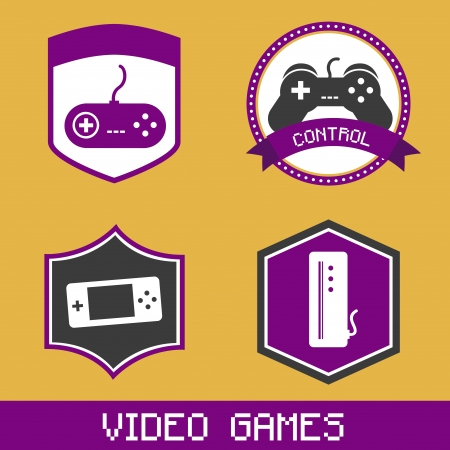 video games icons over orange background  Vector