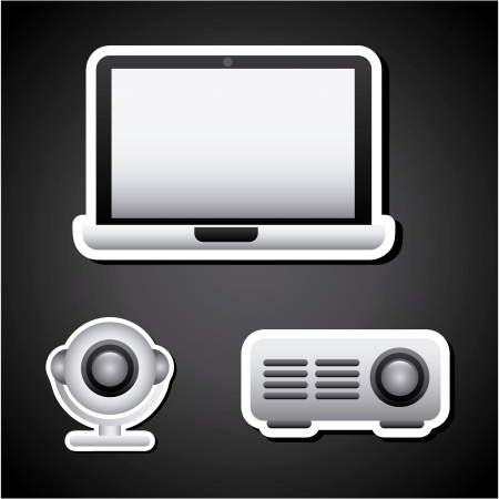 multimedia icons over black background  Vector