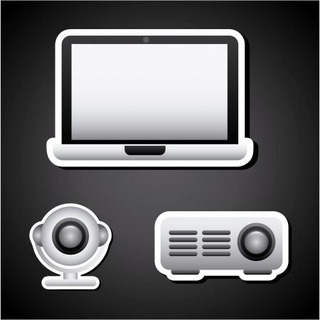 multimedia background: multimedia icons over black background  Illustration