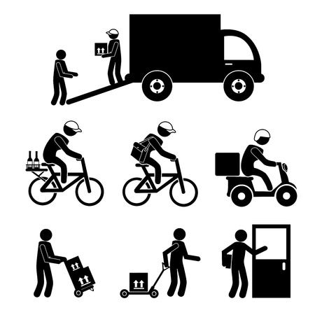 courier delivery: transport icons over white background  Illustration