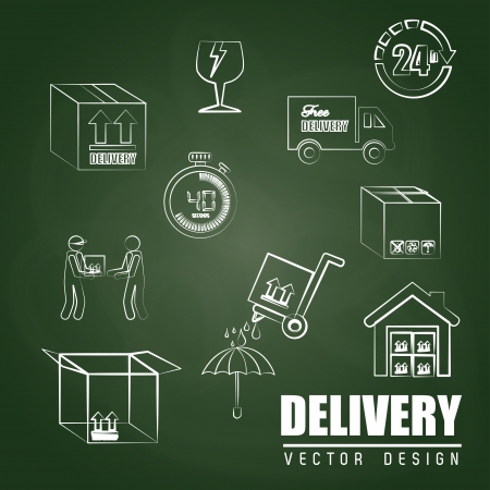 delivery icons over greenboard background  Vector