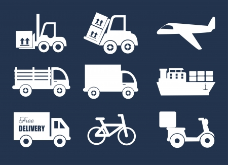 good service: transport icons over white background