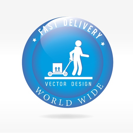 fast delivery: fast delivery button  over white background