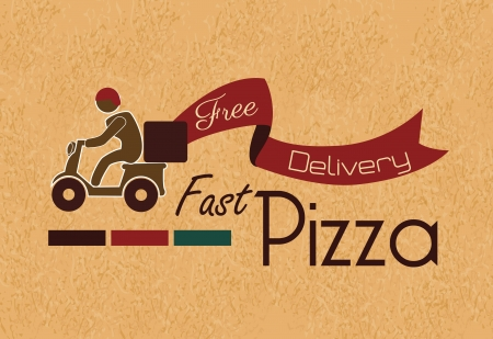 delivery service: fast pizza over vintage background