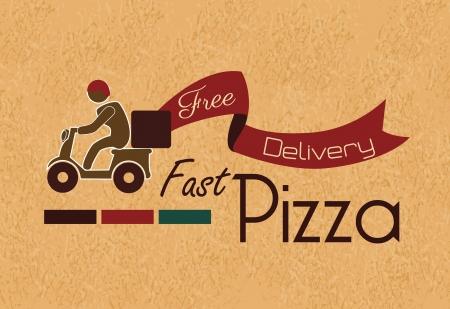 buen servicio: la pizza r�pida sobre fondo vintage