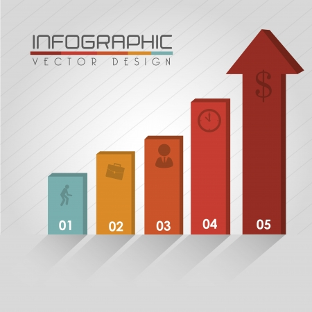 arrows infographics over gray background  Vector