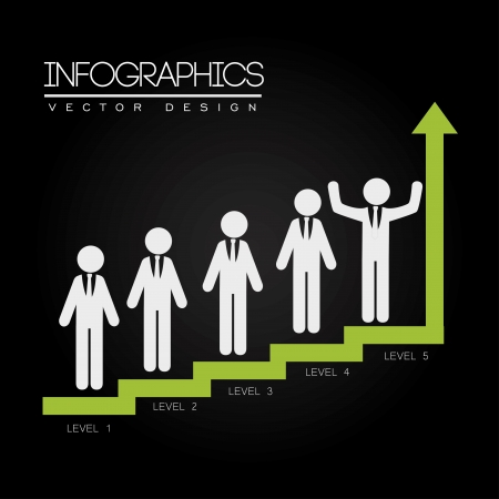 determinants: levels infographics over black background