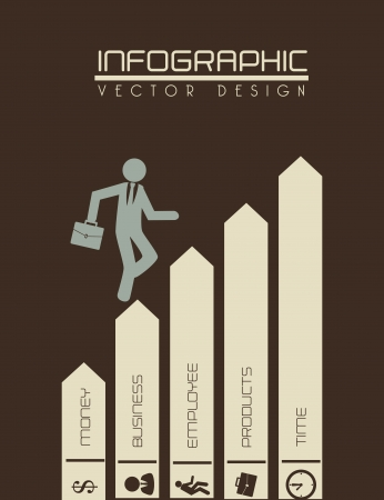 arrows infographics over brown background  Vector