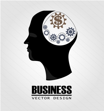 business think over gray background  Vector