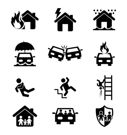calamiteit: verzekering pictogrammen op witte achtergrond