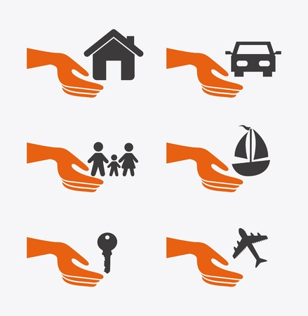 insurance icons over white background  Stock Vector - 21287098