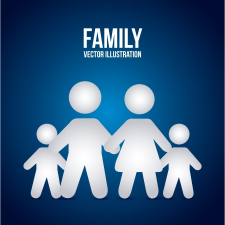 family design over blue background Stock Vector - 21287092