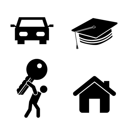 success icons over white background Vector