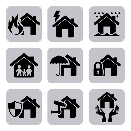 insurance icons over white background  Vector