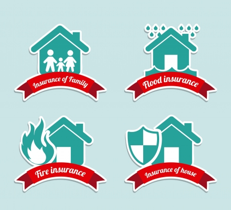 insurance labels over blue background Vector