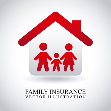 protect home: family insurance over gray background