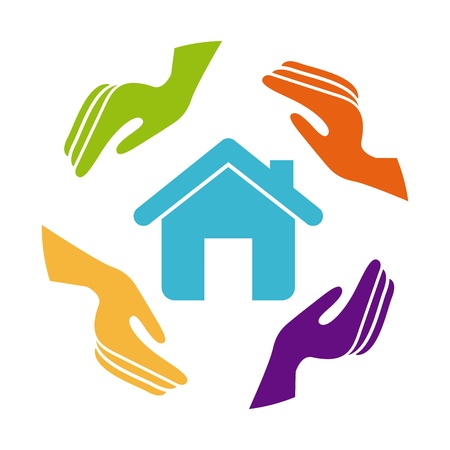 home care: insurance of  house over white background