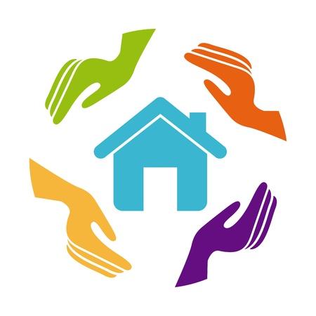 insurance of  house over white background Stock Vector - 21287100