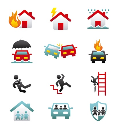 traffic accidents: insurance icons over white background