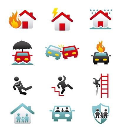calamiteit: verzekeringen pictogrammen over witte achtergrond