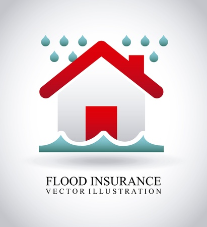 flood insurance over gray background