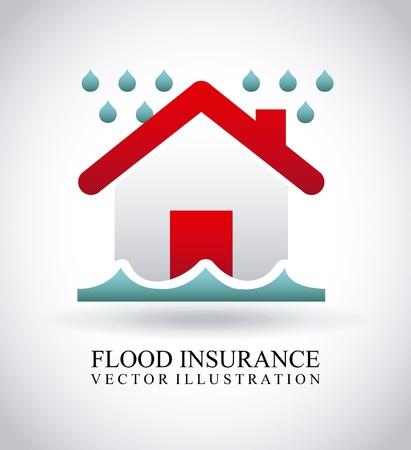 vloedverzekering over grijze achtergrond Stock Illustratie