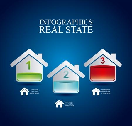 investment real state: infografía inmobiliaria sobre fondo azul