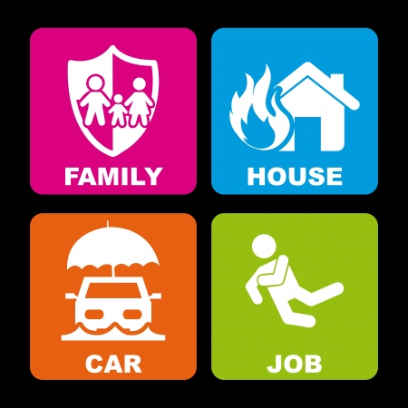insurance icons over black background  Vector