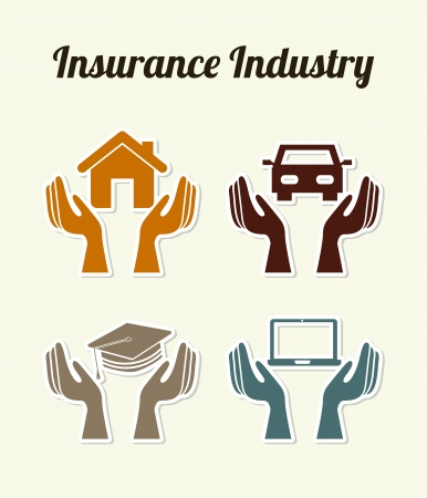 insurance industry over white background  Stock Vector - 21287191